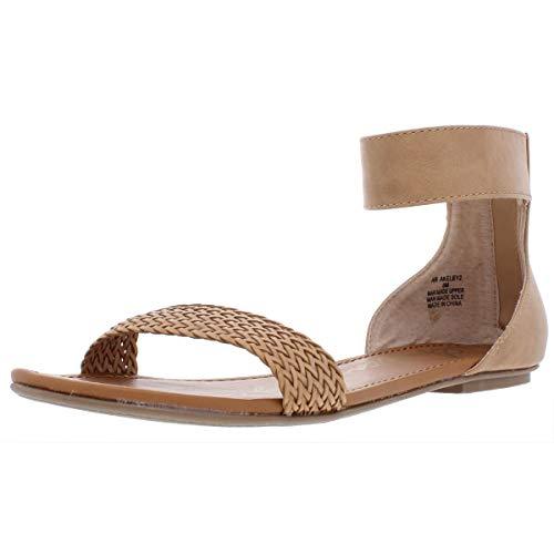 American Rag Womens Keley2 Faux Leather Flat Sandals Tan 5.5 Medium (B,M)