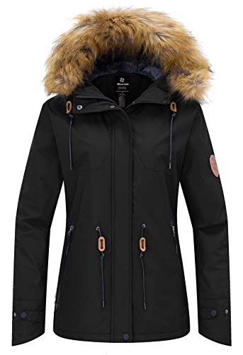 Wantdo Women's Skiing Jacket Waterproof Coat Windproof Faux Fur Collar Black L