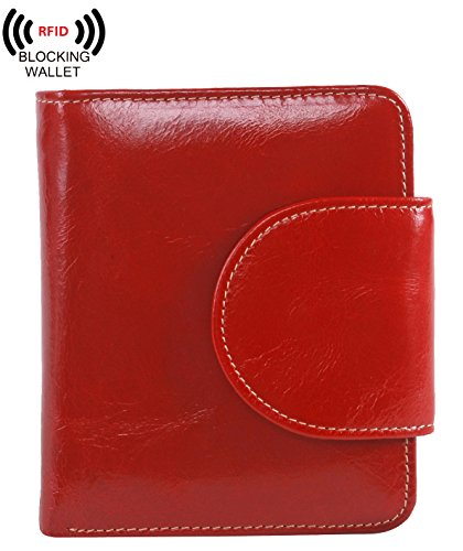 AINIMOER Women's Small Billfold Genuine Leather Tri-Fold Wallet with Zipper Pocket(Red)