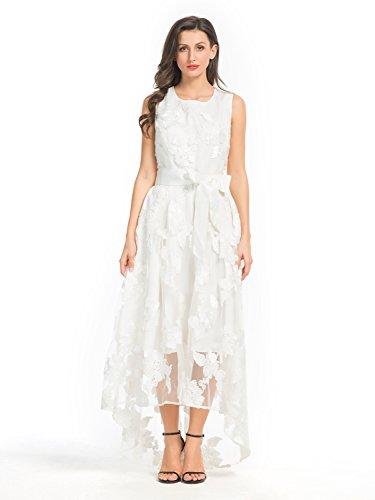 PERSUN Womens White Floral Sleeveless
