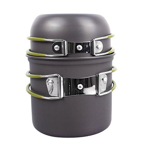 Camping Pot Camping Topf Outdoor Kochger?te Wandern Backpacker Tragbar Hart aus Anodisiertem Aluminium mit Antihaftbeschichtung Kochgeschirr Picknik Kochset von Sch¨¹ssel, Topf und Pfanne