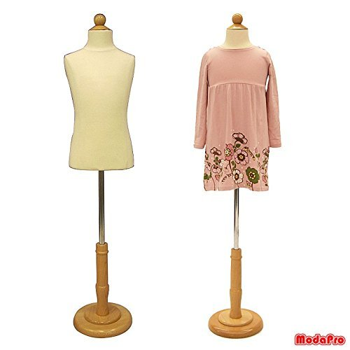 (JF-C6-8T) 6-8 Years Old Child/Kids Body Dress Form Mannequin White Jersey Form Cover with Wooden Base(C6-8T)