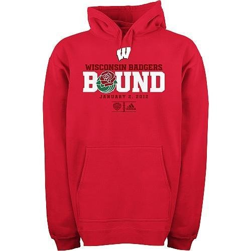 adidas Wisconsin Badgers ESPN Rose Bowl Bound Fleece Hoodie Sweatshirt Medium