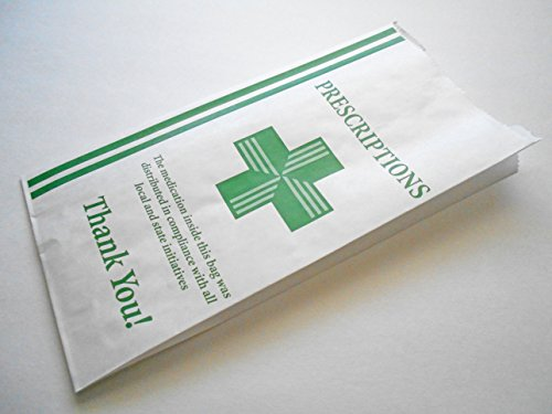 Green Health Cross - Dispensary Prescription Bags (10x5x2) Gusseted Paper Pharmacy Bag, Medication Packaging for Drug Stores, Designed