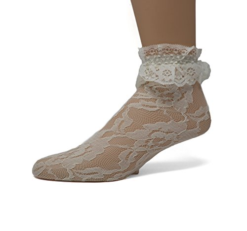 Ivory Lace Socks (EMEM Apparel Women's Ladies Lace Anklet Ankle Quarter Socks Stockings with Ruffle Ivory 9-11)
