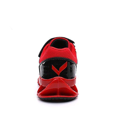 ASHION Zapatos de fútbol para niños Zapatos de deporte profesional Zapatillas de deporte para niños Rojo