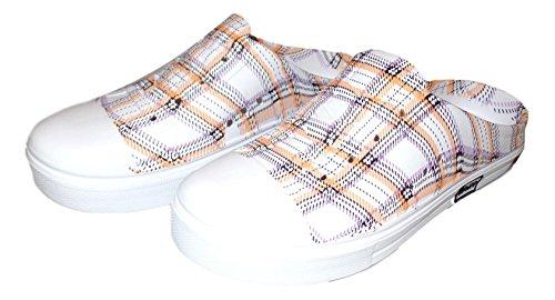 101 BEACH Ladies Print Water Sneaker Clogs Orange Plaid bY7p6
