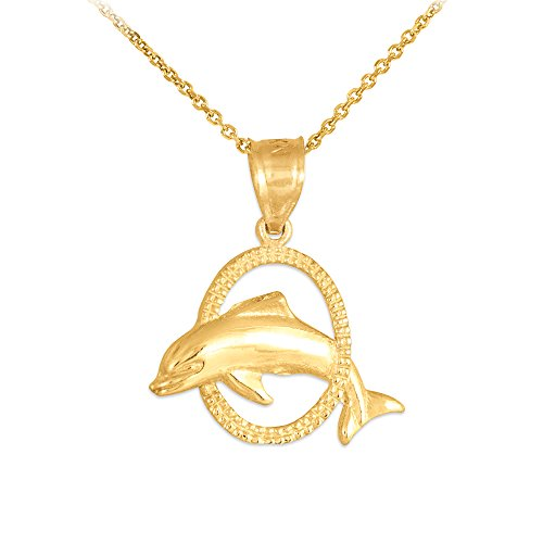 Solid 14k Yellow Gold Hoop Jumping Dolphin Pendant Necklace, 22