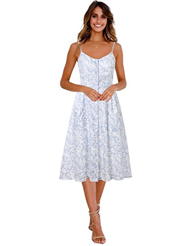 Blooming Jelly Womens Summer Sleeveless Hawaiian Dresses High Waist Button Down Floral Boho Midi Chiffon Dress with Pockets (Large, (Blue Soft Dress)