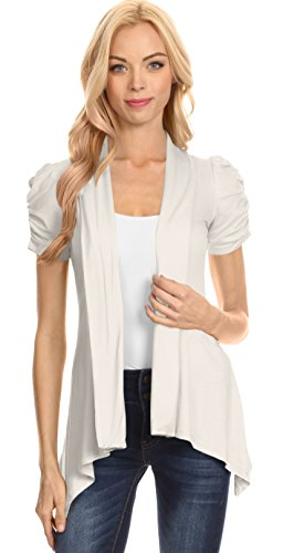 Ivory Cardigan Off White knit Short Sleeve Open Cardigan, Ivory ,X-Large ()