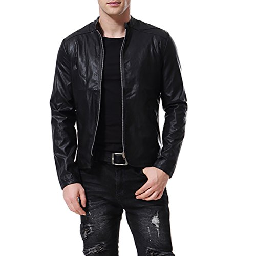 - AOWOFS Men's Faux Leather Jacket Punk Motorcyle Lightweight Collarless Coat Slim Fit