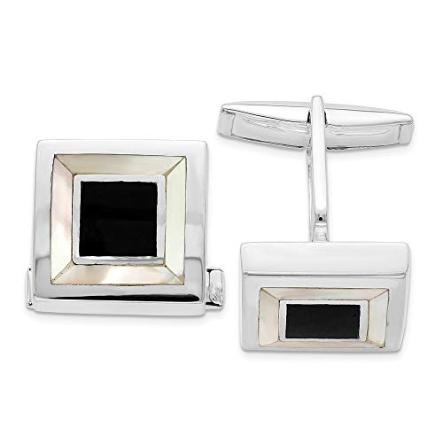 925 Sterling Silver Mother Of Pearl Enamel Cufflinks Cuff Link Man Fine Jewelry Gift For Dad Mens For Him