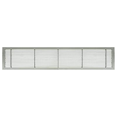"Architectural Grille 100042401 AG10 Series 4"" x 24"" Solid Aluminum Fixed Bar Supply/Return Air Vent Grille, Brushed Satin"