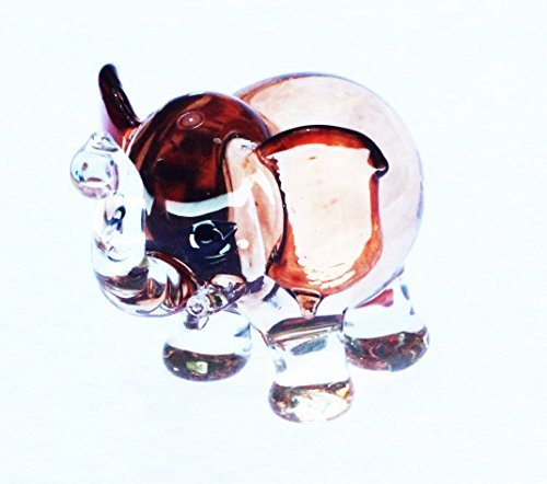[Wildlife MINIATURE HAND BLOWN GLASS New Glass Elephant Brown FIGURINE Collection] (Cow Head Hat Adult)