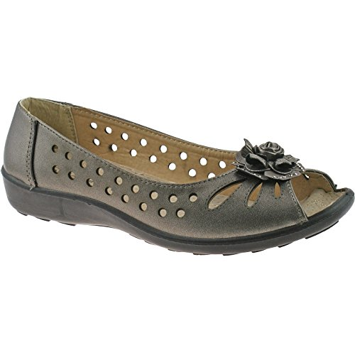 Toe Black Sole Peep DAYNA Leather Sole Faux Pewter With With Ladies Black Flower Flats Boulevard Black nvBqUYfRwR
