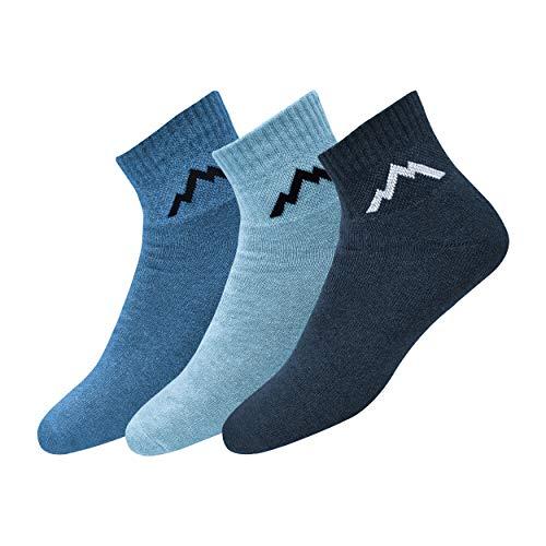 Ranger Sport Ankle Men's Heavy Duty Cotton Quarter Length Athletic Socks, Free Size, Pack of 3 (Free Size)