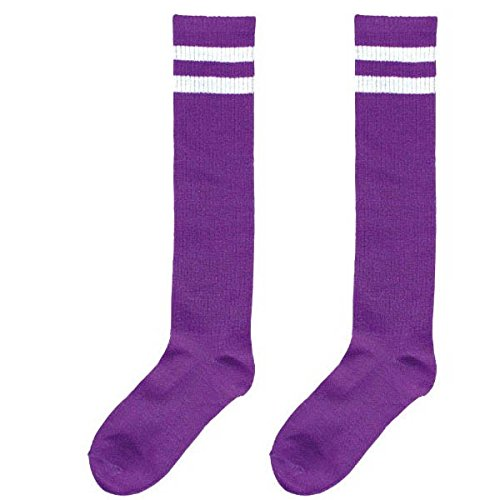 Standard Knee High Socks with White Stripes Sports Costume Party Apparel, Purple, Fabric, 19