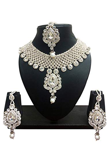 Jewelry Fashion Indian - CROWN JEWEL Indian Bollywood Gold Plated Fashion Wedding Bridal Jewelry Necklace Earring Set for Women (White)