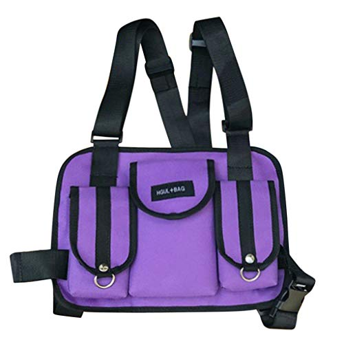 Fashion Chest Rig Bag,Crytech Tactical Radio Chest Harness Multipurpose Front Chest Pack Pouch Holster Vest Rig Sport Backpack Daypack for Two Way Radio Walkie Talkie for Women Men (Purple)