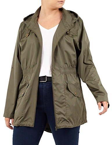 Click Choices 24 18 Fishtail Womens New Raincoats Waterproof Size Contrast Zip Plus Khaki Selfie Jacket Parka 6OrWwBx6qf