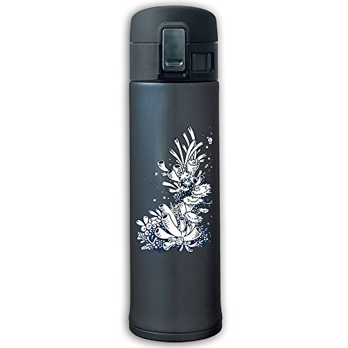 Stainless Steel Mug Sea Coral Bouncing Cover Insulation Vacuum Cup Bottle Thermos Travel Mug Navy
