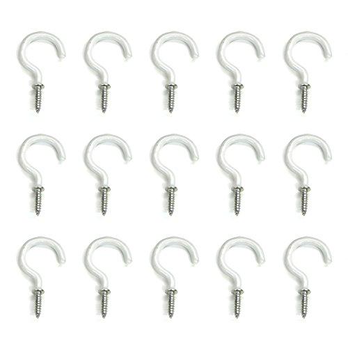 Aoyoho 60Pcs Vinyl Coated Screw-In Ceiling Hooks Cup Hooks Light Hooks (White Hook)