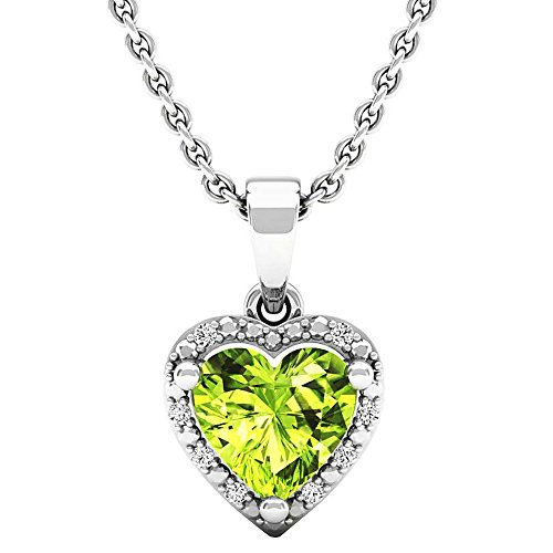 - Dazzlingrock Collection 7X7 MM Heart Peridot & Round Diamond Ladies Halo Heart Shape Pendant, Sterling Silver