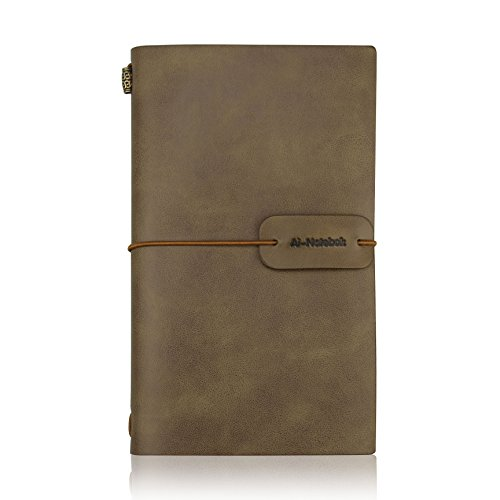 Travelers Notebook Writing Journal, Antique Handmade Vintage Leather Travel Note Book Refillable to Write in for Men & Women, 4.72''x7.87'' (White Coffee) by ai-natebok