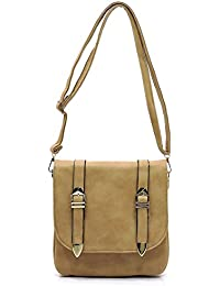 Faux leather three compartments medium cross body bags...