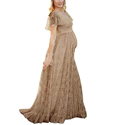 Women's Ruched Floral Lace Maternity Nursing Party Maxi Tank Dress Baby Shower Pregnancy Photography Long Gown Dresses Coffee