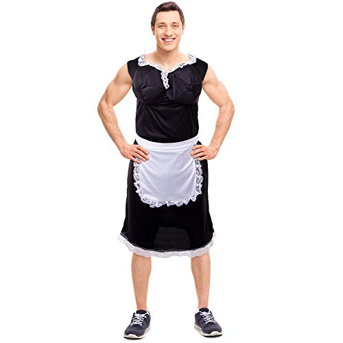 Boo Inc. Men's Busty French Maid Halloween Costume | Sexy, Funny Adult Lacey Dress, -
