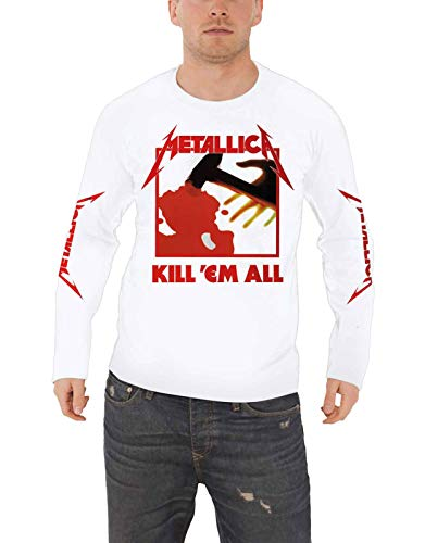 Metallica T Shirt Kill Em All Official Mens White Long Sleeve Size L (Best Musicians Of The 2000s)