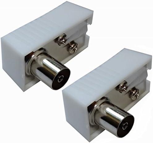 AERZETIX: 2 x Conectores Enchufe Antena TV Hembra Codo 9,5mm IEC 169-2 Tele coaxial para Extension