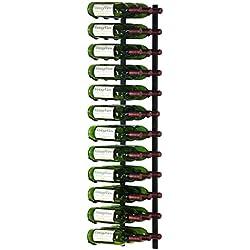 VintageView 36 Bottle Wall Mounted Metal Hanging Wine Rack (3 Deep - Black)