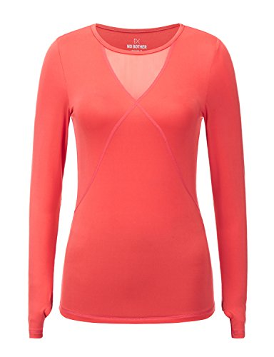 Regna X Womens Long Sleeve deep v Neck mid Weight Cotton Warm Shirt Coral Pink M