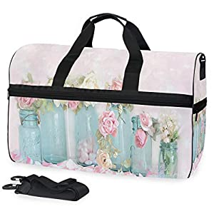 Travel Gym Bag Dreamy Shabby Chic Pink White Roses Yoga Bag With Shoes Compartment Foldable Duffle Bag For Men Women