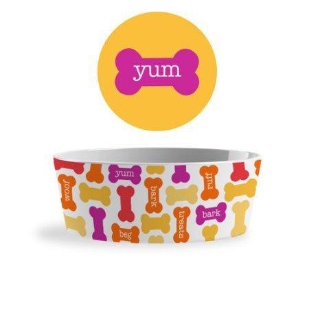 Bowl Melamine Dog (Melamine Yum Dog Food Bowl - Dishwasher Safe Pet Dish for Food or Water)