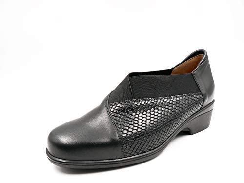 Mujer Serpiente Cm En Cuña Abotinado Negro Piel La Y Color Elástico Zapato Comb Ancho Plantilla 3 Marca De 150 Extraible 185608 Piesanto Especial d4xdOqUC