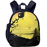 Liumong Spooky and Fun Halloween Children Multi-Function Mini Casual Outdoor Travel Book Middle School Backpack 13 Laptop Computer Bag Pocket Zipper