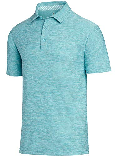 Three Sixty Six Golf Shirts for Men - Dry Fit Short-Sleeve Polo, Athletic Casual Collared T-Shirt Turquoise -