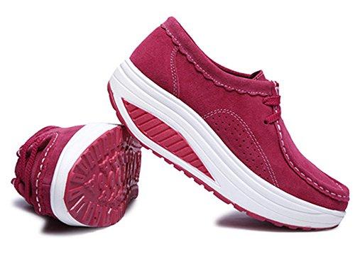 Keilabsatz up Walkingschuhe Warm Plateau Abnehmen Sneakers Wedges Loafers Damen CCZZ Schnürer Rose Shape Echtleder Winter Fitnessschuhe Freizeitschuhe vq6Ix8S