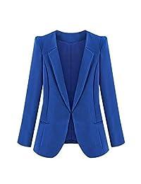 Mupoduvos Women Formal Soild Lapel Open Front Office Blazer Bomber Jacket Plus Size