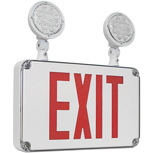 Compact Wet Location Exit Sign Combo with Red Letters