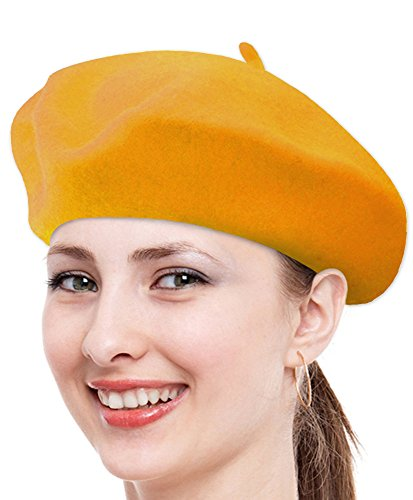 Monica Lewinsky Costume (Classic Solid Color Wool French Beret (Gold))