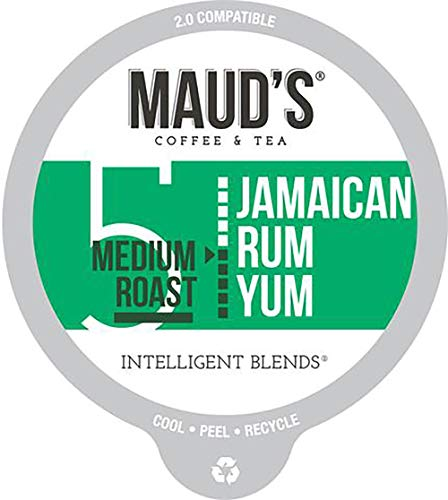 Maud's Jamaican Rum Flavored Coffee (Jamaican Rum Yum), 60ct. Recyclable Single Serve Coffee Pods - Richly Satisfying Arabica Beans California Roasted, K-Cup Compatible Including 2.0