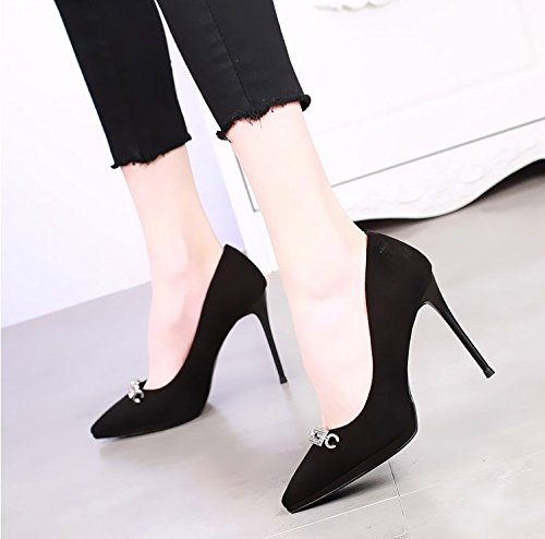 KHSKX-10Cm Pointed High-Heeled Shoes With A Fine Shallow Mouth Waterproof Shoes Spring New Sexy Diamond Wedding Shoes All-Match Shoes Black giHSZoL