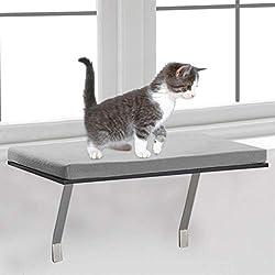 Mosunx percha de ropa para ventana de gato, reposapiés para ventana, fácil de instalar, para gatito, cama montada para mascotas, muebles de casa y mascotas, sofá resistente, Gris, 23.6 x 11.8 x 11.4 inches (60x30x29cm)