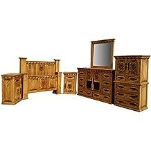 King Size Desert Rose Rustic Bedroom Set Solid Wood 6 Pcs (King Size Set, Honey Finish)