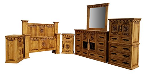 Queen Size Desert Rose Rustic Bedroom Set Solid Wood 6 Pcs (Queen Size Set, Honey Finish) by RUSTIC FOR LESS