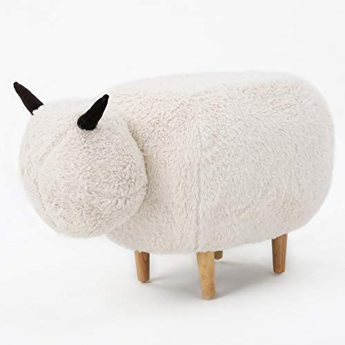 MISC Childrens Sheep Ottomans, Natural White Lamb Shaped Ottoman, Brown Horns Country Farm Animal Theme Footstool, Cute Kids Room Decor Velvet Faux Fur Plush Footrest Stool, 17.5